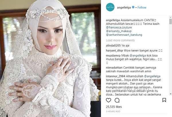 Ucapan terima kasih Angel Lelga setelah menikah (Instagram @angellelga)