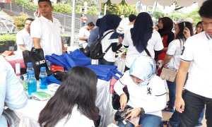 Sosialisasi Gerakan Nontunai kepada warga oleh BI Jateng di acara CFD Semarang, Minggu (18/2/2018). (JIBI/Bisnis/Alif N.R.)
