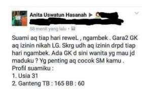 Istri pertama carikan istri untuk suaminya (Facebook)