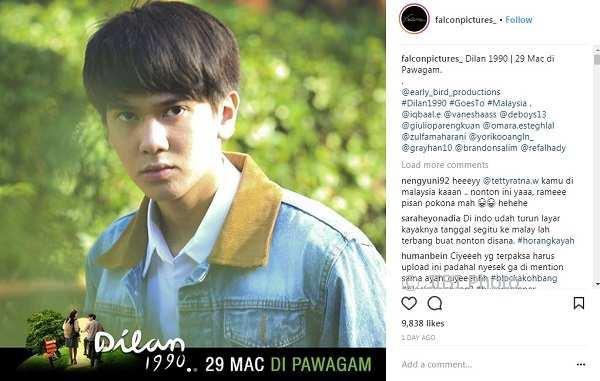 Akun Instagram Falcon Pictures mengumumkan film Dilan 1990 akan tayang di Malaysia. (Instagram)