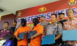 Rilis maling laptop di Mapolres Kulonprogo, Jumat (23/3/2018). (Uli Febriarni/JIBI/Harian Jogja)