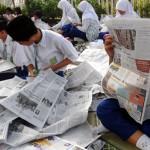 Sambut HPN, siswa, kliping koran