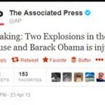 PEMBAJAKAN AKUN TWITTER : @Ap Dibajak, Beritakan Ledakan di Gedung Putih