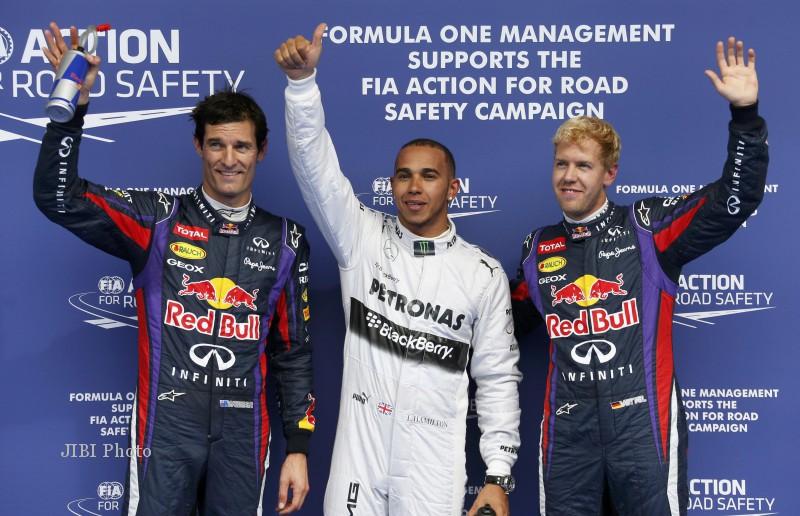JELANG GP F1 BELGIA : Diganggu Hujan, Hamilton Klaim Pole Keempat Beruntun