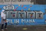 FOTO PEMILU 2014 : Mural Ajakan Ikut Coblosan