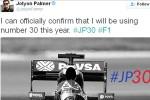 FORMULA ONE 2016 : Pembalap Ini Pilih Nomor 30