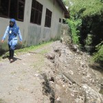 KERUSAKAN SEKOLAH : Tergerus Arus Sungai, Pagar SMPN 2 Prambanan Ambrol