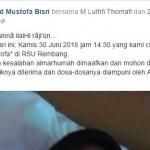 KABAR DUKA : Mohon Doa, Gus Mus Unggah Foto Istrinya Sesaat Setelah Dinyatakan Meninggal Dunia