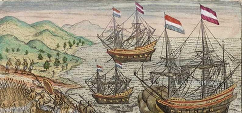 Ilustrasi perjalanan Cornelis de Houtman. (Historiek.net)