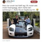 Ditegur Ditjen Pajak, Raffi Ahmad Ngaku Mobil Koenigsegg Cuma Titipan