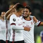 Para pemain AC Milan merayakan gol. (JIBI/REUTERS/Heinz-Peter Bader)