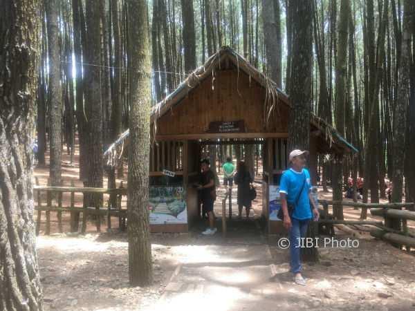 Suasana di depan pintu masuk objek wisata hutan pinus Mangunan, Dlingo, Bantul, Jumat (3/11/2017). (Santi Afdilah/JIBI/Harian Jogja)