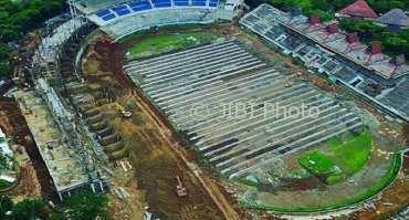 Stadion Jatidiri Kota Semarang yang sedang direnovasi. (Instagram-@panserbiru.metrostar)