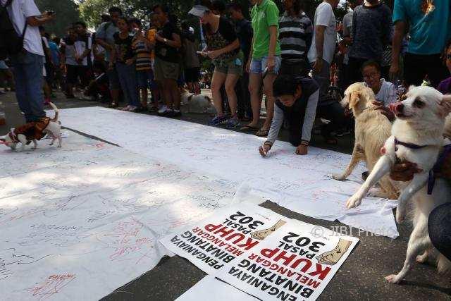 Kampanye di CFD Solo, Pecinta Hewan Ungkap Kekejaman di Balik Menu Daging Anjing