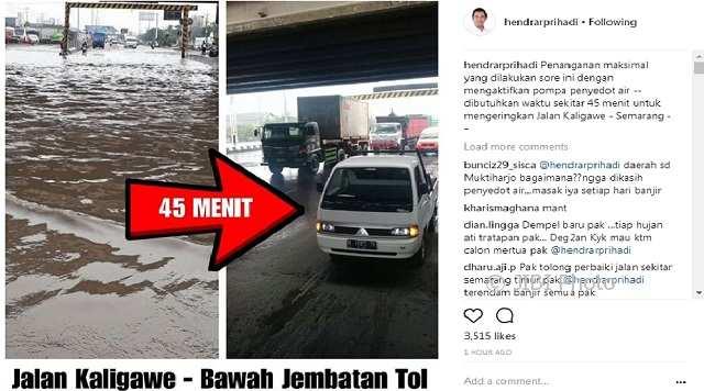 BANJIR SEMARANG : Klaim Atasi Banjir dalam 45 Menit, Wali Kota Malah Kebanjiran Kritik