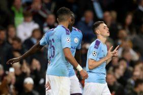 Manchester City merayakan gol ke gawang Dinamo Zagreb, Rabu (2/10/2019) dini hari WIB. (Reuters)