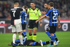 Pertandingan pekan ketujuh Liga Serie A Italia musim 2019-2020 antara Inter Milan dan Juventus di Stadion Giuseppe Meazza, Milan, Italia, Senin (7/10/2019) dini hari WIB. (Reuters-Daniele Mascolo)