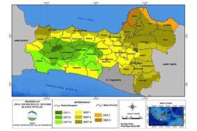 Peta prakiraan awal musim hujan tahun 2019-2020 di wilayah Jawa Tengah. (Antara-BMKG)