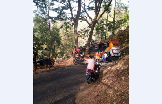 Warga menonton bus yang tersangkut di tikungan jalan alternatif/penghubung Jatiroto-Tirtomoyo, Wonogiri, ruas Tirtomoyo, Sabtu (19/10/2019). (Istimewa)
