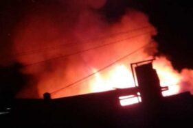 Pasar Blabak, Kecamatan Mungkid, Kabupaten Magelang, Kamis (17/10/2019), terbakar. (Antara-Istimewa)