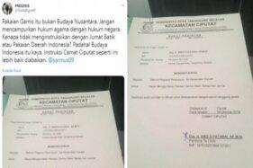 Kicauan soal surat perintah Camat Ciputat terkait gamis yang dikomentari Ferdinand Hutahaean. (Twitter)