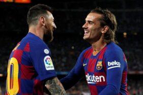 Lionel Messi (kiri) dan Antoine Griezmann. (Reuters-Albert Gea)
