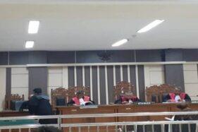 Mantan Bupati Sragen Agus Fatchur Rahman menjalani sidang di Pengadilan Tipikor Semarang, Senin (21/10/2019). (Bisnis-Alif Nazzala Rizqi)