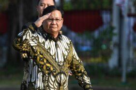 Ketua Umum Partai Gerindra Prabowo Subianto tiba di Istana Kepresidenan, Rabu (23/10/2019). (Antara - Wahyu Putro A)