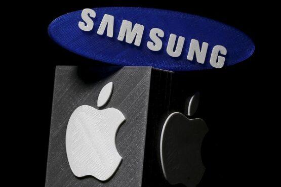 Ilustrasi persaingan antara Apple dan Samsung. (Reuters)