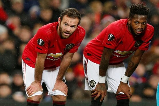 Pemain Manchester United, Juan Mata (kiri) dan Fred. (Reuters-Andrew Yates) Liga Inggris Eropa