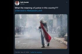 Salah satu unggahan di Twitter mendesak pembebasan Luthfi, remaja pembawa bendera merah putih saat demo STM September 2019 lalu.