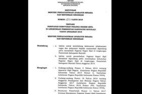 Gambar tangkapan layar surat keputusan yang melampirkan perincian formasi CPNS di Kabupaten Boyolali yang beredar lewat grup Whatsapp. (Istimewa)