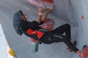 Nurul Iqamah, atlet panjat tebing yang meraih tiga medali emas dari Kejuaraan Asia Panjat Tebing 2019. (Antara-Hendra Nurdiansyah)