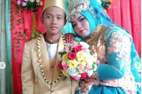 Pernikahan bocah berumur 14 tahun (Instagram/@makassar_iinfo)
