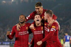 Liverpool merayakan gol ke gawang Leicester City pada pertandingan pekan ke-19 Liga Inggris 2019-2020 di Stadion King Power, Jumat (27/12/2019) dini hari WIB. (Reuters-Andrew Yates)