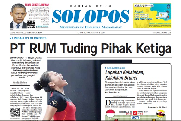 Headline Solopos 3 Desember 2019. (Solopos)