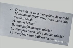 Soal ujian agama SD yang dianggap menghina Nabi Muhammad. (Istimewa)