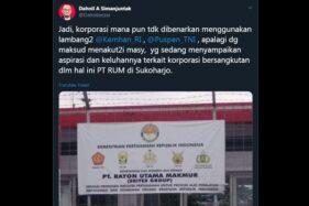 Kicauan Dahnil Anzar Simanjuntak, Kamis (12/12/2019) malam, tentang spanduk PT RUM Sukoharjo yang memasang logo Kemenhan dan TNI.