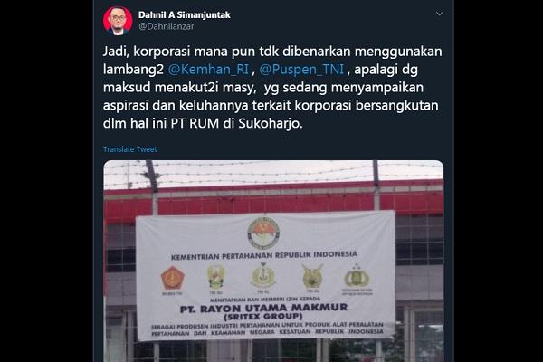 Jubir Kemenhan: PT RUM Sukoharjo Dilarang Pakai Lambang TNI untuk Takuti Masyarakat