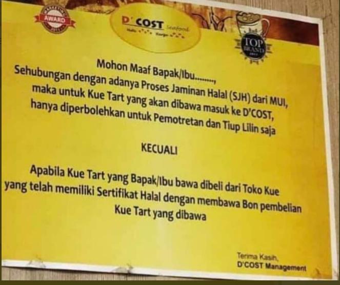 Restoran D Cost Larang Kue Ultah Tanpa Label Halal Netizen Salahkan Mui