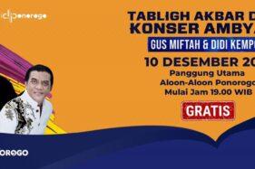 Poster Tabligh Akbar dan Konser Ambyar yang diselenggarakan Pemkab Ponorogo. (Istimewa-Pemkab Ponorogo)