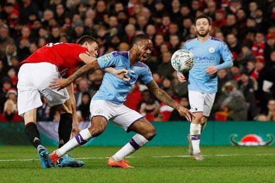 Pertandingan Semifinal Carabao Cup atau Piala Liga Inggris antara Manchester United dan Manchester City di Stadion Old Trafford, Manchester, Inggris, Rabu (8/1/2020) dini hari WIB. (Reuters-Phil Noble)