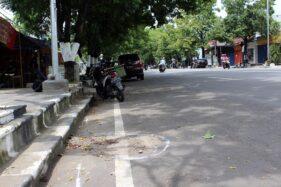Lokasi kecelakaan lalu lintas di Jl. Raya Sukowati, Sragen Kulon, Sragen, Senin (27/1/2020). (Solopos/Tri Rahayu)