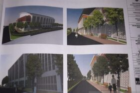 Gambar pekerjaan fisik (detail engeneering design) GOR Indoor Batang yang akan dibangun di Jl. dr. Sutomo, tepatnya di lahan bekas pasar darurat. (Antara-Kutnadi)