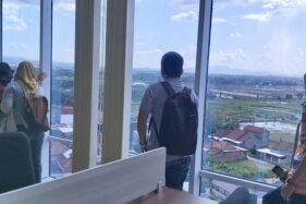 Pemandangan dari lantai IX Gedung Terpadu Setda Sukoharjo, Jumat (17/1/2020). (Solopos-Indah Septiyaning W.)