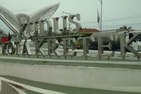 Gerbang Kudus Kota Kretek menjadi ikon Kabupaten Kudus, Jawa Tengah. (Antara-Akhmad Nazaruddin Lathif)