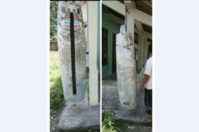 Kentungan bersejarah Desa Gununggajah, Kecamatan Bayat, Klaten, tergantung di balai desa setempat sebelum hilang digondol maling. (Istimewa-Kades Gununggajah)