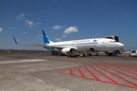 Ilustrasi pesawat Garuda Indonesia. (Bisnis-Paulus Tandi Bone)