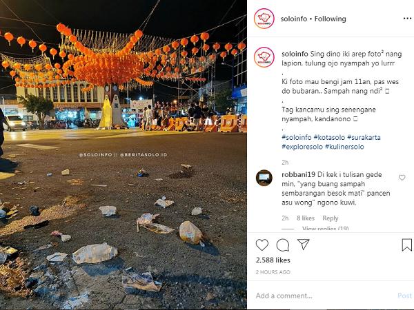 Sampah Pengunjung di Area Lampion Imlek Solo Jadi Sorotan, Minim Tempat Sampah?
