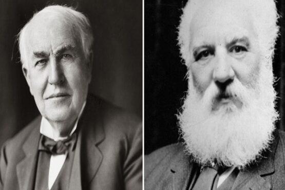 Thomas Alva Edison (kiri) dan Alexander Graham Bell (kanan). (Solopos-Dok.)